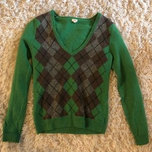 JCrew 100% wool Argyle sweater